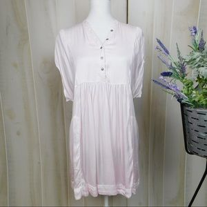 Free People Pink Silky Babydoll Blouse